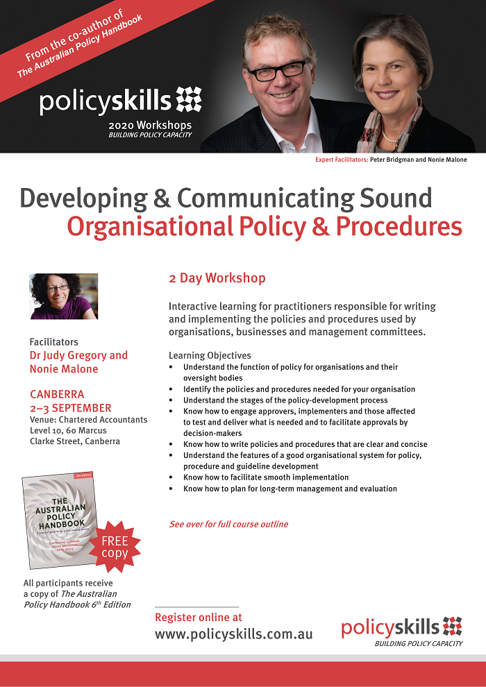 Developing & Communicating Sound Organisational Policy & Procedures flyer