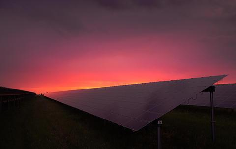 pink sunset over solar panels in landscape