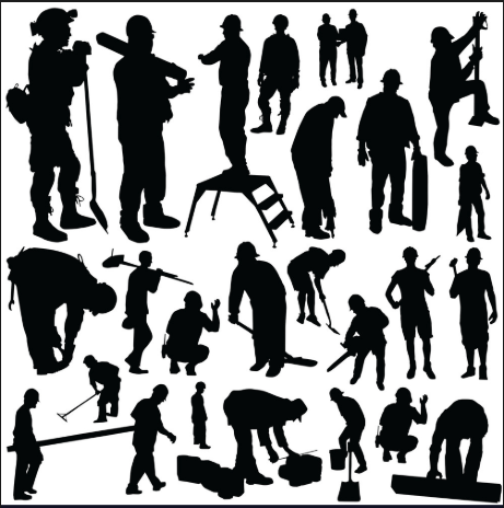 silhouettes of working people in black on a white background