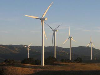 wind turbines in a landscape