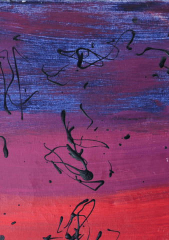 blue purple and red abstract painting