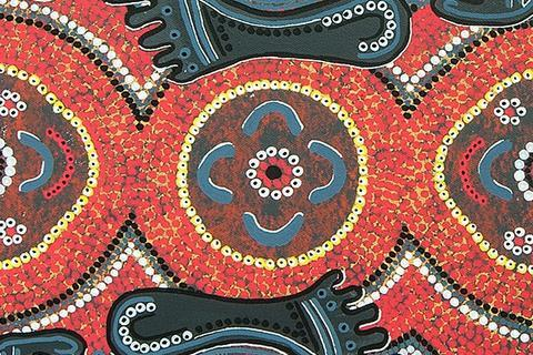 Aboriginal dot painting with waterholes and footprints