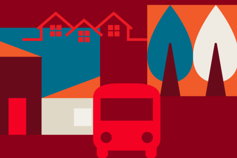 graphic logo of houses trees and a bus